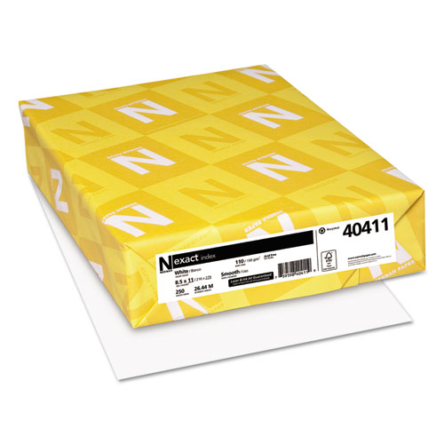 Exact index card stock, 110 lbs., 8-1/2 x 11, white, 250 sheets/pack, sold as 1 package