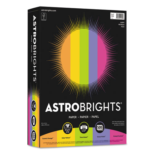 Wausau paper - astrobrights colored paper, 24lb, 8-1/2 x 11, assorted, 500 sheets/ream, sold as 1 rm