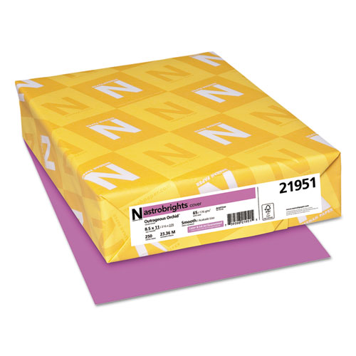 Astrobrights colored card stock, 65 lb, 8-1/2 x 11, outrageous orchid, 250 shts, sold as 1 package