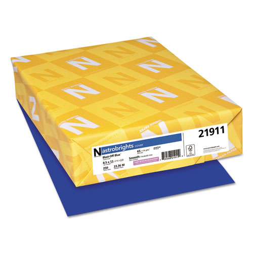 Astrobrights colored card stock, 65 lb., 8-1/2 x 11, blast-off blue, 250 sheets, sold as 1 package