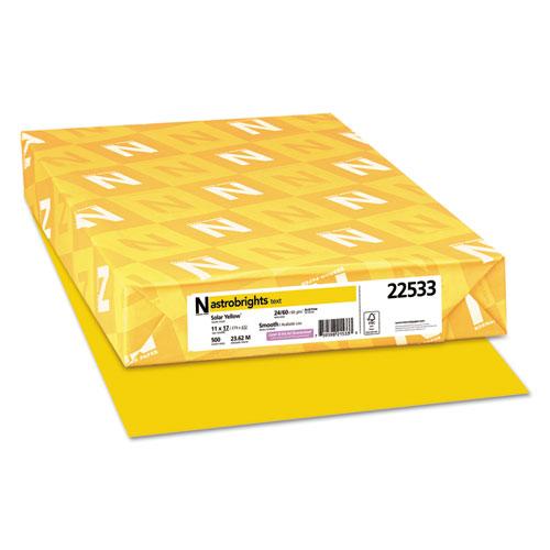 Color Paper, 24 lb, 11 x 17, Solar Yellow, 500/Ream