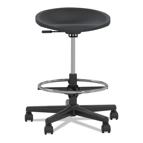 Tech Stool, 31.25 Seat Height, Supports up to 250 lbs., Black Seat/Black Back, Black Base