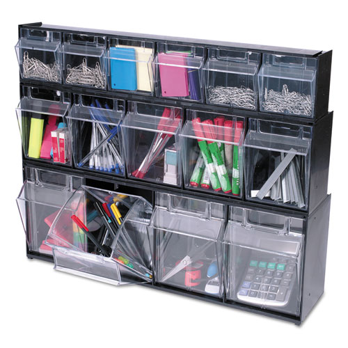 Tilt Bin Plastic Storage System W 5 Bins 23 8 X 1 4 6 2 Black Comp U Charge Inc