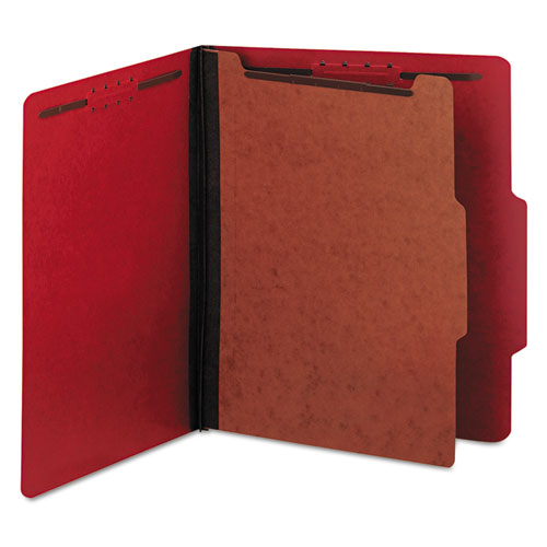 Pressboard Classification Folders, Letter, Four-Section, Ruby Red, 10/Box