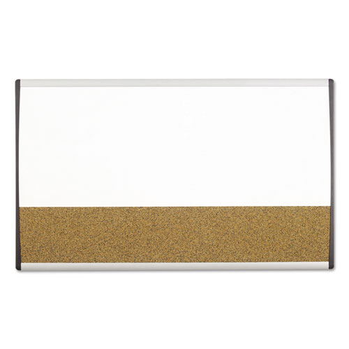 Magnetic Dry-Erase/Cork Board, 18 x 30, White Surface, Silver Aluminum Frame | by Plexsupply