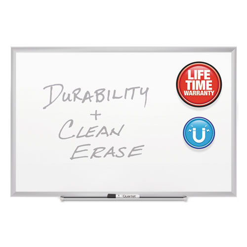 Classic Series Porcelain Magnetic Board, 60 x 36, White, Silver Aluminum Frame | by Plexsupply