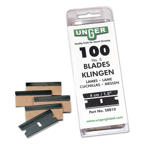 Unger® Safety Scraper Replacement Blades, #9, Stainless Steel, 100/Box