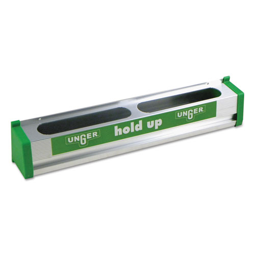 Unger® Hold Up Aluminum Tool Rack, 18w x 3.5d x 3.5h, Aluminum/Green