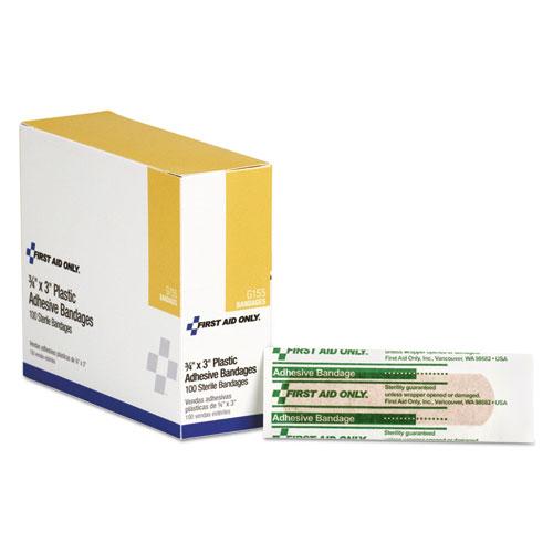 Plastic Adhesive Bandages, 3 x 0.75, 100/Box