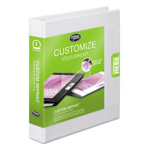 "Custom imprint presentation binder, 1"" cap, white, sold as 1 each"