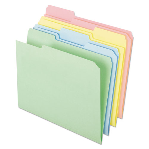 Pastel Colored File Folders, 1/3-Cut Tabs, Letter Size, Assorted, 100/Box | by Plexsupply