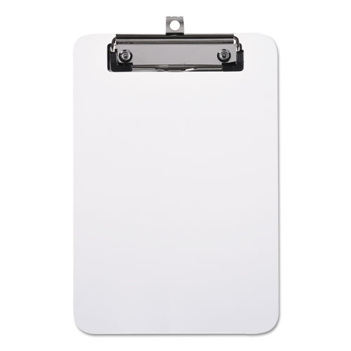 Plastic Clipboard with Low Profile Clip, 1/2 Capacity, Holds 5 x 8, Clear