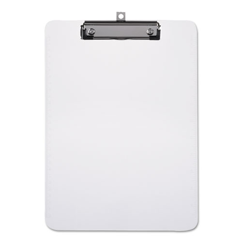 Plastic Clipboard with Low Profile Clip 1/2 Capacity, Holds 8 1/2 x 11, Clear