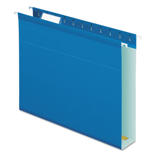 Extra Capacity Reinforced Hanging File Folders with Box Bottom, Letter Size, 1/5-Cut Tab, Blue, 25/Box | by Plexsupply