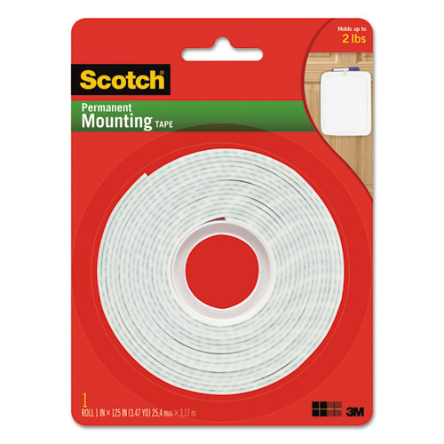 Permanent High-Density Foam Mounting Tape, 1 Wide x 125 Long