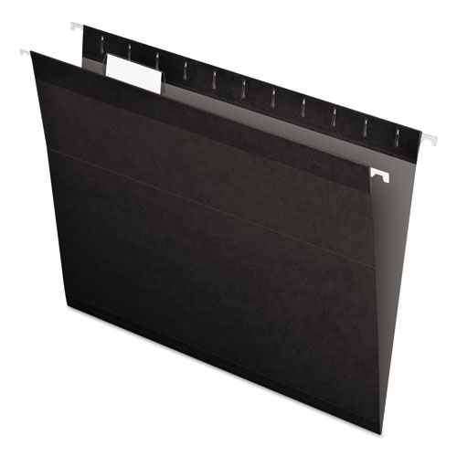 Colored Reinforced Hanging Folders, Letter Size, 1/5-Cut Tab, Black, 25/Box | by Plexsupply