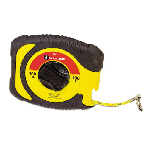 English Rule Measuring Tape, 3/8 x 100ft, Steel, Yellow