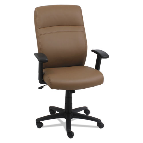 High-Back Swivel/Tilt Bonded Leather Chair, Supports up to 275 lbs, Taupe Seat/Taupe Back, Black Base