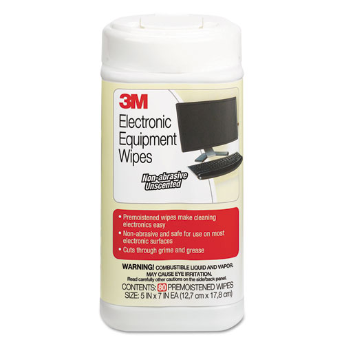 Electronic Equipment Cleaning Wipes, 5 1/2 x 6 3/4, White, 80/Canister | by Plexsupply
