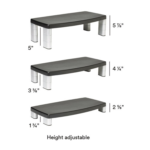Extra-Wide Adjustable Monitor Stand, 20 x  12 x 1 to 5 7/8, Black