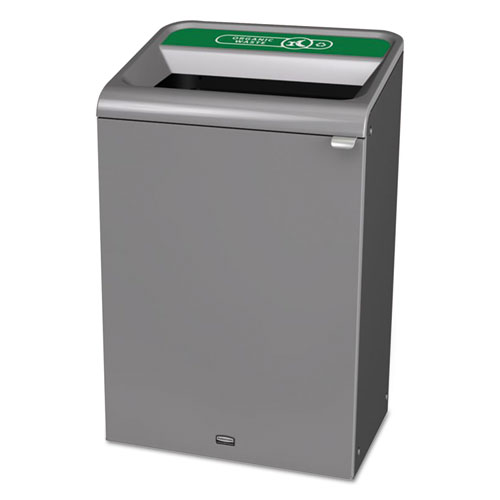 Configure Indoor Recycling Waste Receptacle, 33 gal, Gray, Organic Waste