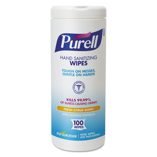 PURELL® Hand Sanitizing Wipes, 5 7/10x7 1/2, Fresh Citrus Scent, 100/Canister, 4/Carton