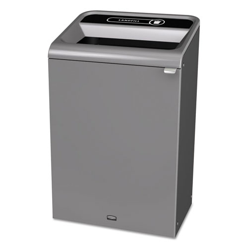 Rubbermaid® Commercial Configure Indoor Recycling Waste Receptacle, 15 gal, Gray, Mixed Recycling