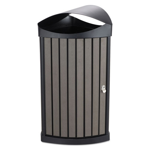Safco® Indoor/Outdoor Receptacle, 20 gal, Black Powder-Coated
