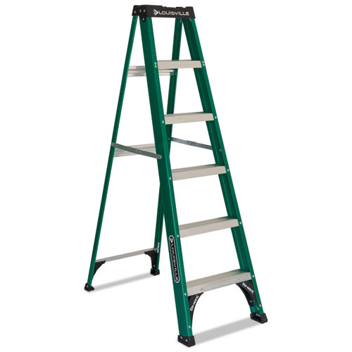 Louisville® #592 Folding Fiberglass Step Ladder, 6 ft, 5-Step, Green/Black
