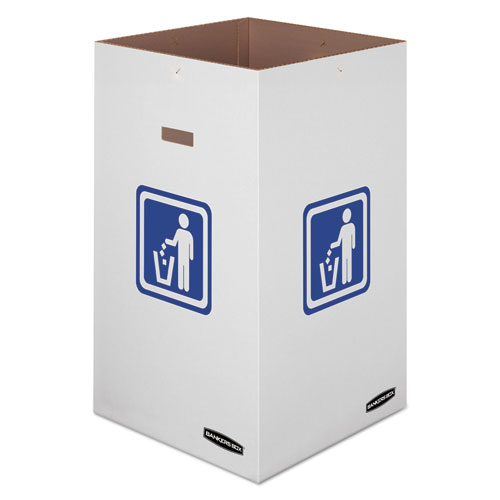 "Bankers Box® Waste and Recycling Bin, 42 gal, 18"" x 18"" x 30"", White, 10/Carton"