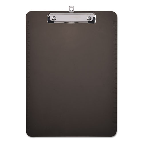 Plastic Clipboard with Low Profile Clip, 1/2 Cap, 8 1/2 x 11, Translucent Black