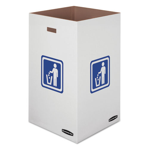 "Bankers Box® Waste and Recycling Bin, 50 gal, 18"" x 18"" x 36 3/8"", White, 10/Carton"