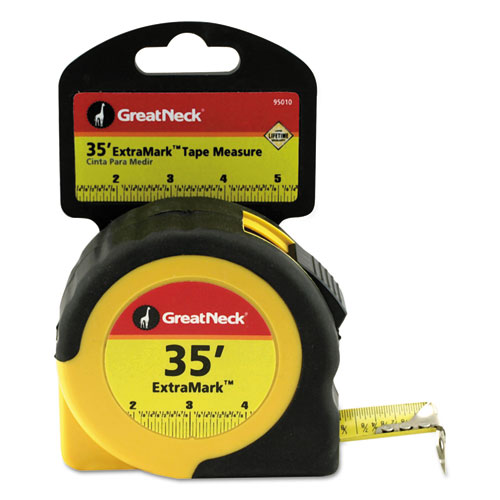 ExtraMark Tape Measure, 1 x 35ft, Steel, Yellow/Black