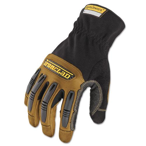 Ranchworx Leather Gloves, Black/Tan, Large | by Plexsupply