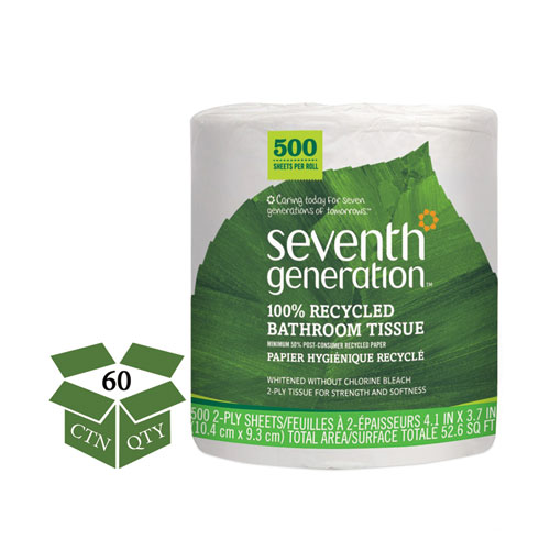 100 Recycled Bathroom Tissue, Septic Safe, 2-Ply, White, 500 Sheets/Jumbo Roll, 60/Carton