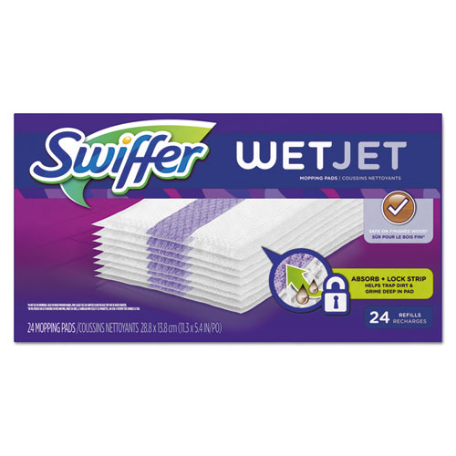 "WetJet System Refill Cloths, 11.3"" x 5.4"", White, 24/Box 