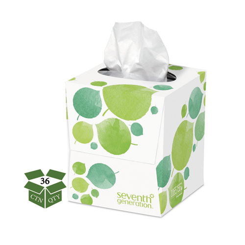 100 Recycled Facial Tissue, 2-Ply, 85 Sheets/Box, 36 Boxes/Carton