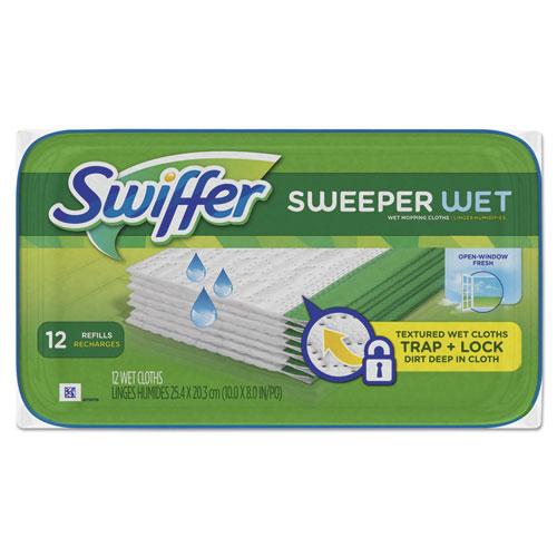 Swiffer® Wet Refill Cloths, Open Window Fresh, Cloth, White, 8 x 10, 12/Tub