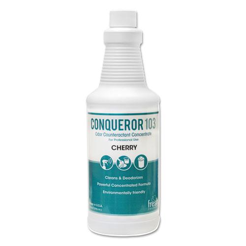 Conqueror 103 Odor Counteractant Concentrate, Cherry, 32 oz Bottle, 12/Carton