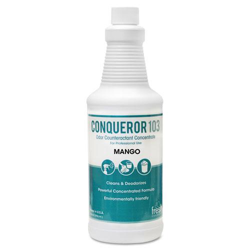 Conqueror 103 Odor Counteractant Concentrate, Mango, 32 oz Bottle, 12/Carton