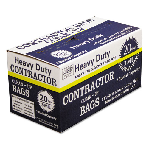 "AEP® Industries Inc. Heavy-Duty Contractor Clean-Up Bags, 60 gal, 3 mil, 32"" x 50"", Black, 20/Carton"