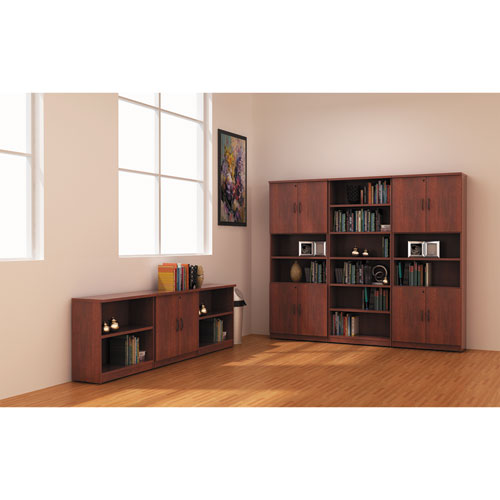 Alera Valencia Series Bookcase, Six-Shelf, 31 3/4w x 14d x 80 1/4h, Medium Cherry | by Plexsupply
