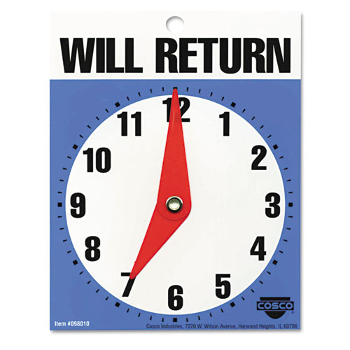 "Will Return Later Sign, 5"" x 6"", Blue 