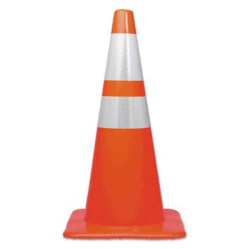 Traffic Cone, 14 x 14 x 28, Orange/Silver