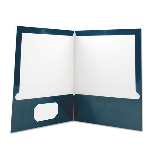 Laminated Two-Pocket Folder, Cardboard Paper, Navy, 11 x 8 1/2, 25/Pack