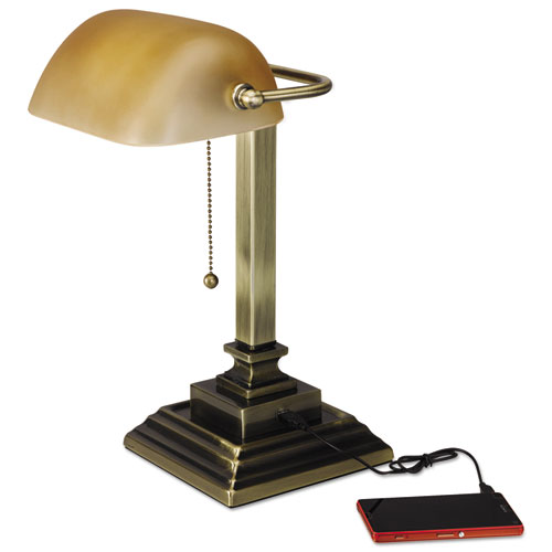 Traditional Bankers Lamp with USB, 10w x 10d x 15h, Antique Brass