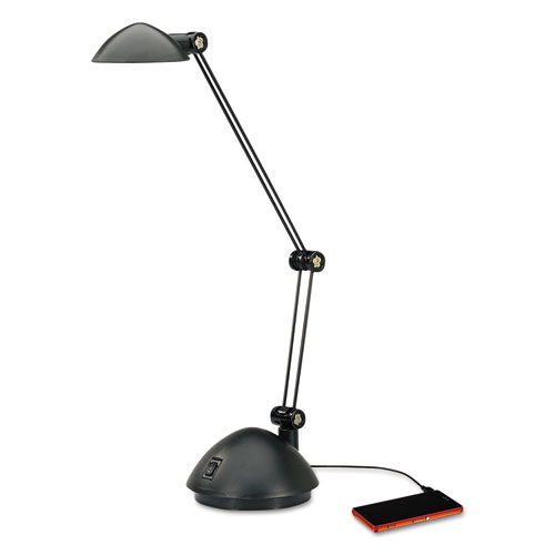 Twin-Arm Task LED Lamp with USB Port, 11.88w x 5.13d x 18.5h, Black