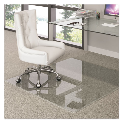 deflecto® Premium Glass All Day Use Chair Mat - All Floor Types, 36 x 46, Rectangular, Clear