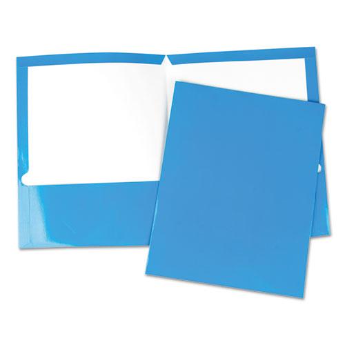 Laminated Two-Pocket Folder, Cardboard Paper, Blue, 11 x 8 1/2, 25/Pack