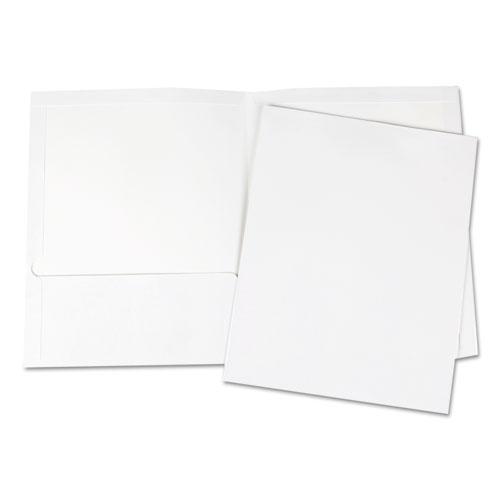 Laminated Two-Pocket Portfolios, Cardboard Paper, White, 11 x 8 1/2, 25/Pack